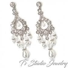 silver pearl and crystal bridal chandelier earrings