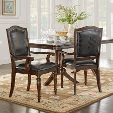 Homelegance Marston Alligator Faux Leather Nailhead Dining Arm - Faux leather dining room chairs