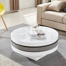 triplo rotating coffee table in white and grey high gloss 1