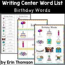 Writing Center Word List Birthday Words