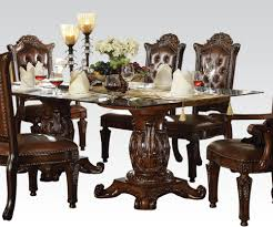 dining room acme vendome double pedestal dining table with glass top in saving photos room north