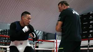 joseph parker works on his binations with trainer kevin barry in brin ahead of his clash