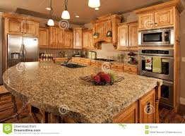 Home Kitchen Modern Home Kitchen With Center Island Royalty Free Stock Images