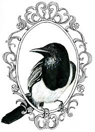Antique mirror frame tattoo Outline Sarah Kirk Illustration Advertisements Ayoqqorg Magpie Drawing Vintage Frame For Free Download On Ayoqqorg