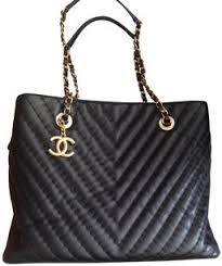 Chanel Black Lambskin Leather Quilted Chevron Large Tote Bag from ... & Added to Shopping Bag. Chanel Quilted Chain ... Adamdwight.com