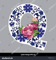 Vector of Peony flower on Oriental Chinese porcelain style in alphabet tape  Q shape. Traditional