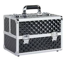 professional travel makeup train case nail portable cosmetic box with lock