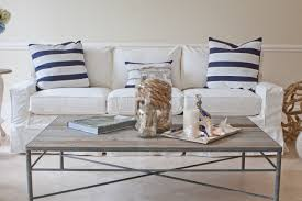 Iron Gate Coffee Table Coastal Furniture Ideas For Living Room With White Strip Fabric