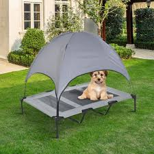 pawhut xl outdoor indoor raised pet bed folding dog cat cot canopy w carry bag aosom ca