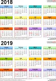 two year calender 2018 2019 calendar free printable two year pdf calendars inside