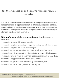 Top 8 compensation and benefits manager resume samples In this file, you  can ref resume ...