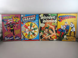 lot of four dc comics wooden wall art
