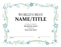 Samples Of Awards Certificates Worlds Best Award Certificate