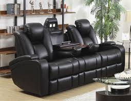 Element Power Recline Sofa in Black Leather Upholstery by Coaster