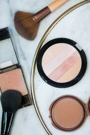 wet n wild blush in rose chagne highlighter nyc sunny bronzer ecotools fan