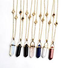 women natural stone quartz pendant choker necklace gold chain crystal rhinestone fashion jewelry