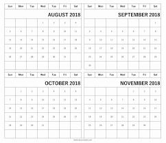 Calendar 2018 August September October November 2019 Printable Team