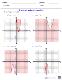 graphing quadratic inequalities worksheets