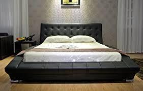 black modern platform bed. GREATIME B1053-4 King Black Modern Platform Bed