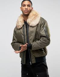 river island aviator jacket with faux fur collar in khaki men jackets river island bags river island jackets and coats glamorous