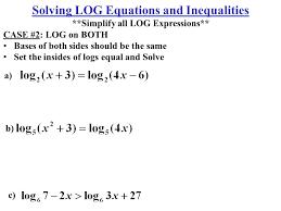 2 a c solving log equations