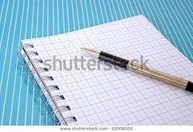Pen Graph Paper Notebook On Blue Stock Image Download Now