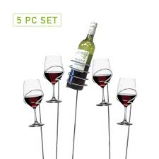 picnic wine bottle and glass holder stemware organizer sticks set 5 piece