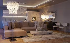 living room recessed lighting. Recessed Lighting Combined With Chandelier For Chic Living Room