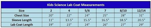 Unisex Lab Coat Size Chart Kids Science Lab Coat Size 8 10 Kids Science Lab Coats