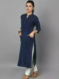 Kurta Top Designs Light Blue Top Wooden Buttons Kurta Designs Women Kurta