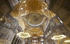 amazing chandelier inside the hagia sophia in istanbul