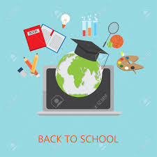 School Cover Page Design Flat Design Of Online Education Infographics Elements And Background