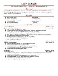 Ideas Of Apprentice Electrician Resume Sample For Job Summary
