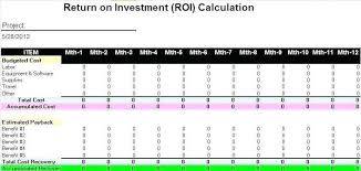 Excel Roi Template It Investment Roi Template Excel Projection Plan Accounting124