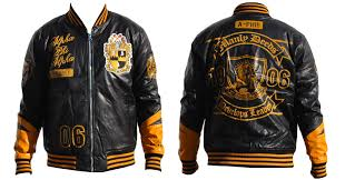 alpha phi alpha script and logo pu leather jacket