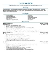 Birthday Party Host Resume Sample