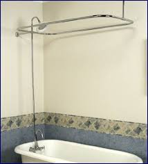 get ations chrome add on shower set for clawfoot tub gooseneck faucet riser and shower rod