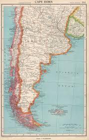 Capo Horn. Patagonia Argentina Cile Falkland Islands. Bartolomeo 1952 Mappa