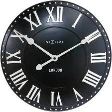 nextime london roman black wall clock