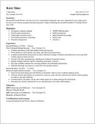 Fabulous Sample Resume For Social Worker Image Of Resume Sample Tips