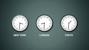 office wall clocks. New York, London And Tokyo Time, World Time Zones, Three Clocks Mounted On Office Wall O