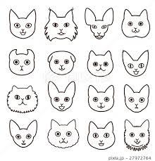 かわいい猫の顔セット 線画のイラスト素材 27972764 Pixta