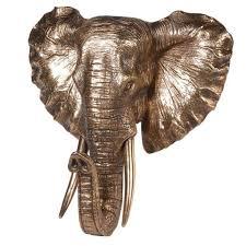 golden resin wall mounted elephant head