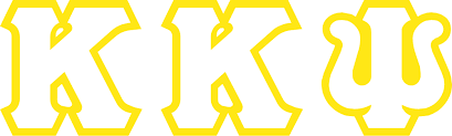 Kappa Kappa Psi letters white on goldg