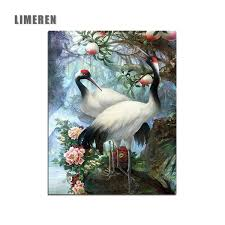 2019 Hand Painted Birds Red Crowned <b>Crane Painting By Numbers</b> ...