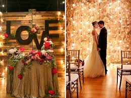 using bulbs and led lights for wedding wall decoration is perfect for a nighttime fall winter ceremony nothing can equal the romantic ambiance it creates