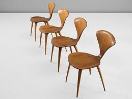 cherner furniture. Set Of Four Dining Chairs, In Walnut And Plywood, By Norman Cherner For Plycraft Furniture