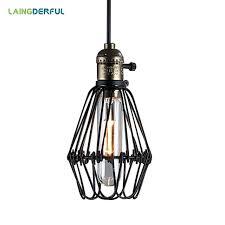 industrial decor iron pendant lights e27 black vintage loft hanglamp wire cage pendant light industrial wire