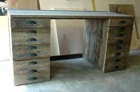 inspiring reclaimed wood desk with many drawers