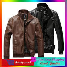 men s stand collar motorbike leather short jacket